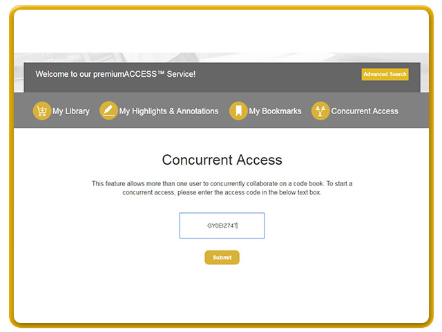 Enter the shared concurrent access code to view the premium content.   If all available licenses are in use, the system will be allowed access once one becomes available